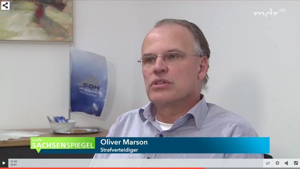 Fernsehbericht des MDR (Sachsenspiegel vom 14.11.2018) mit einem Statement von RA Oliver Marson